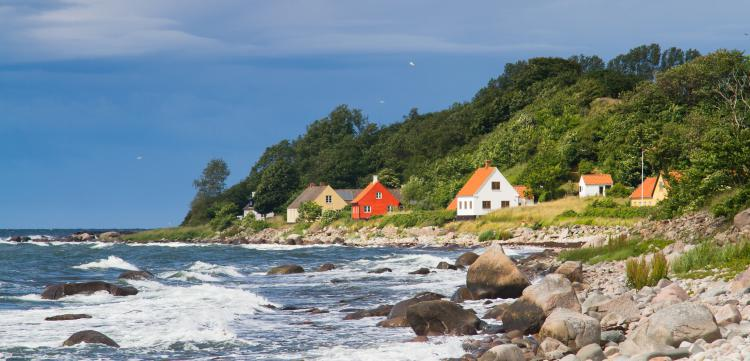 View of a typical danish houses on Bornholm, near Hasle and Jons Kappel. Denmark.